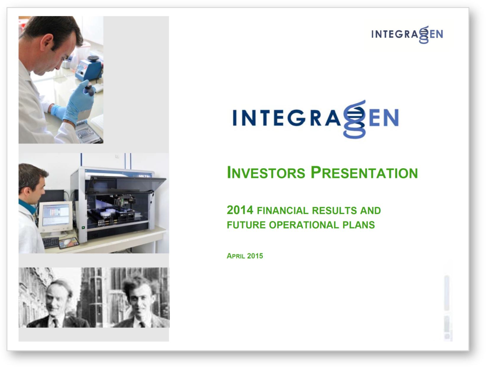 Integragen investor presentation april 2015 english