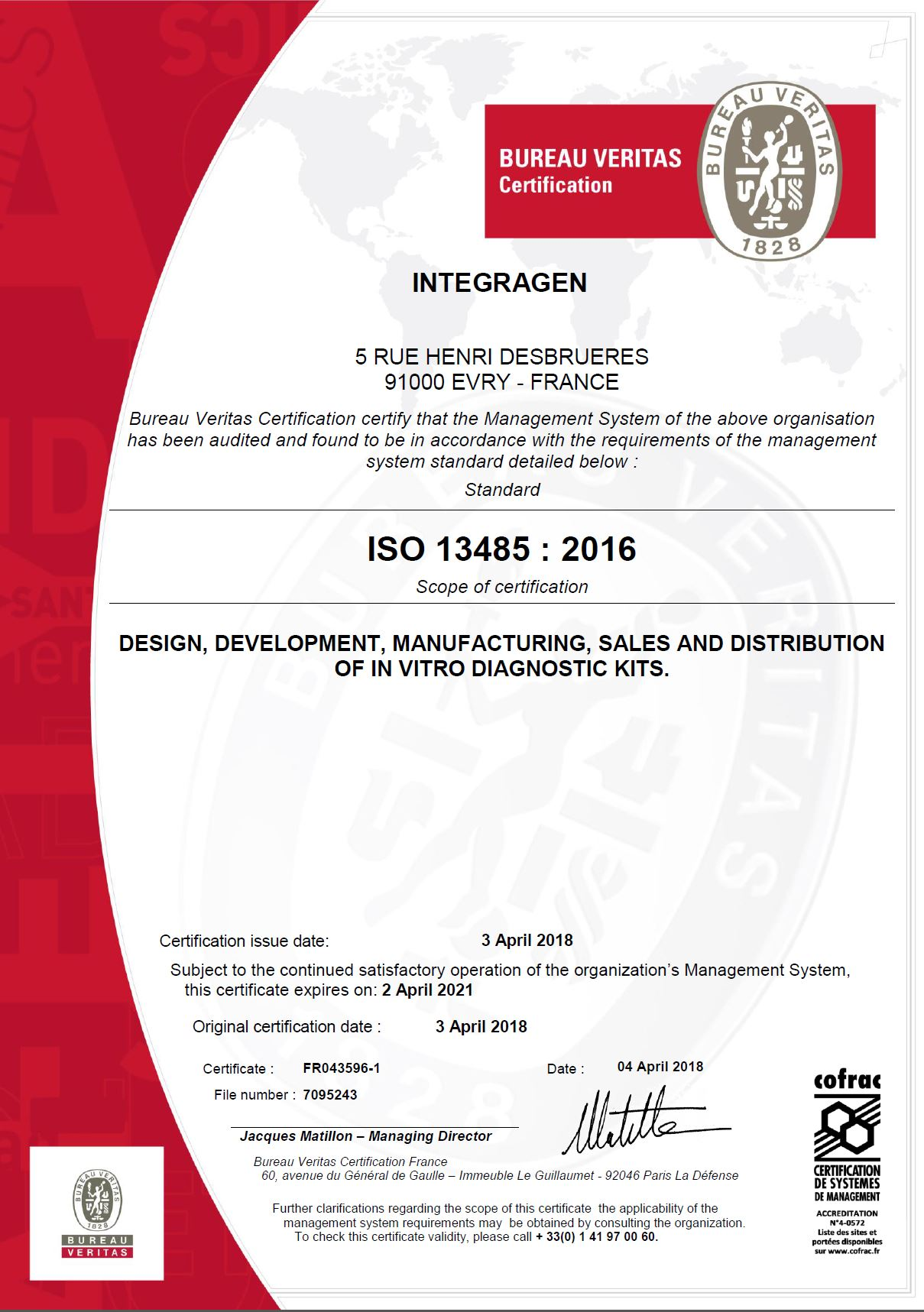 Iso 134852016 Certification Integragen